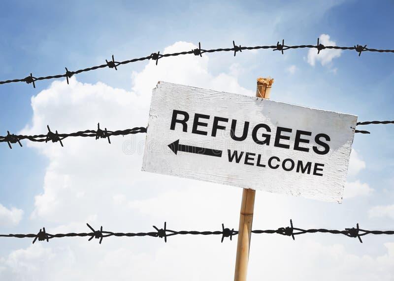 Recepción de los refugiados foto de archivo