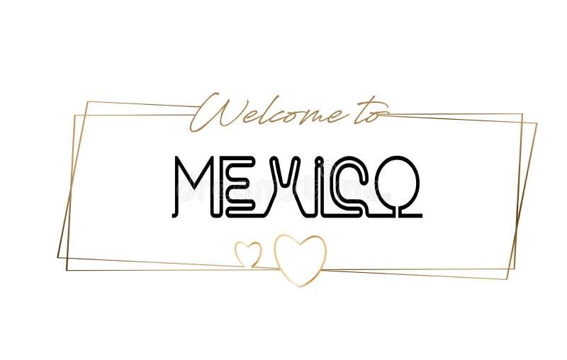 Recepción de México para mandar un SMS a la tipografía que pone letras de neón Palabra para el logotipo, insignia, icono, postal, stock de ilustración