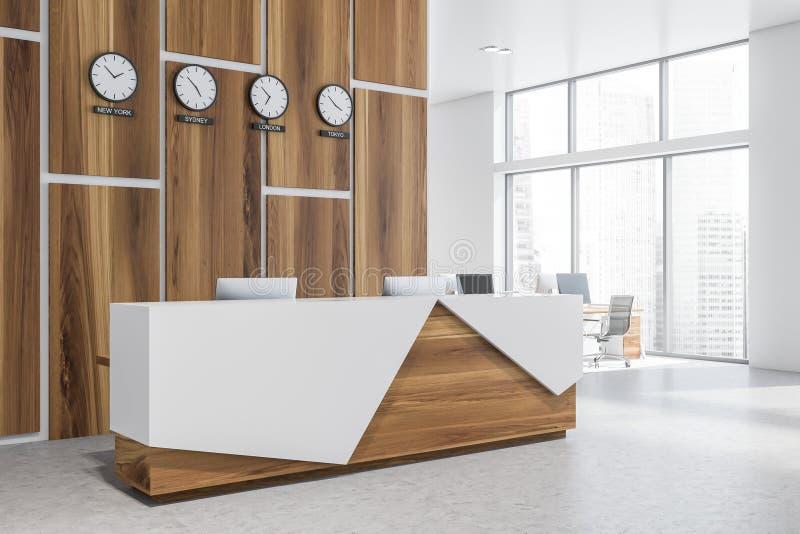 Recepción de madera con los relojes en oficina moderna libre illustration