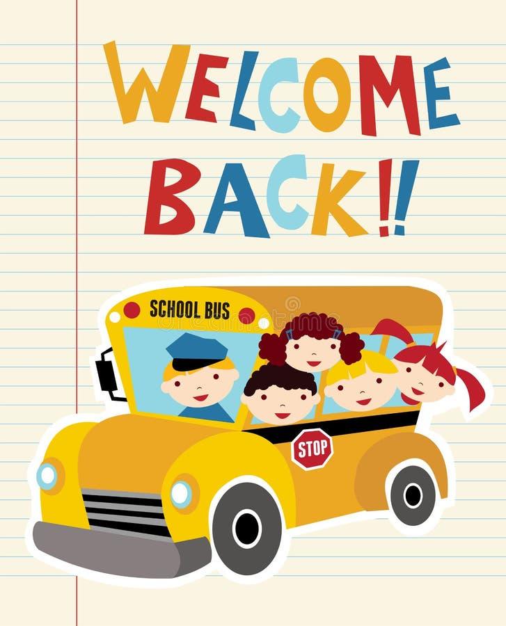 Recepción de nuevo al autobús escolar ilustración del vector