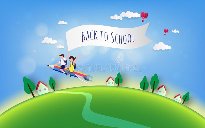 Recepción de nuevo al ejemplo de la escuela Educación, concepto - el muchacho y la muchacha elementales del estudiante en el lápi libre illustration