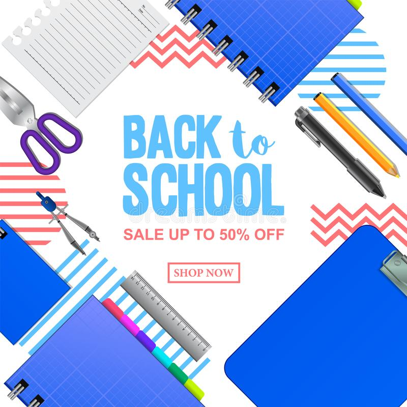 Recepción de nuevo a bandera del descuento de la oferta de la venta de la escuela con el cuaderno del lápiz, tablero en la visión fotografía de archivo