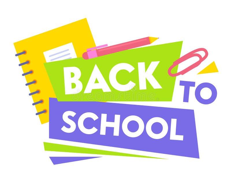 Recepción de nuevo a bandera educativa del promo de la escuela con tipografía y efectos de escritorio de la escuela Encierra el c ilustración del vector