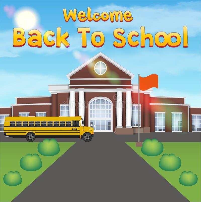 Recepción de nuevo a escuela con la construcción de escuelas delantera ilustración del vector