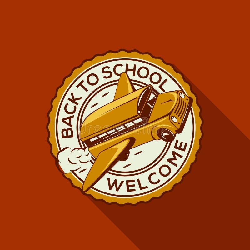 Recepción de nuevo a etiqueta de la escuela con schoolbus ilustración del vector