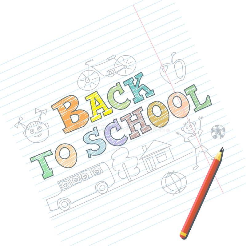 Recepción de nuevo a tarjeta de la escuela con bosquejos del niño en el cuaderno stock de ilustración