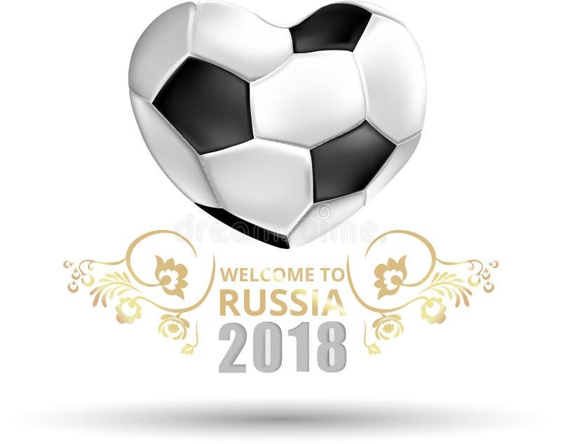 Recepción del blanco a la tarjeta de Rusia 2018 stock de ilustración