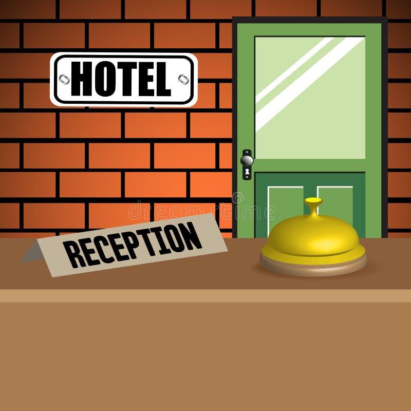 Recepción del hotel stock de ilustración