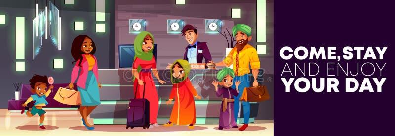 Recepción del hotel de la historieta del vector con la familia árabe stock de ilustración