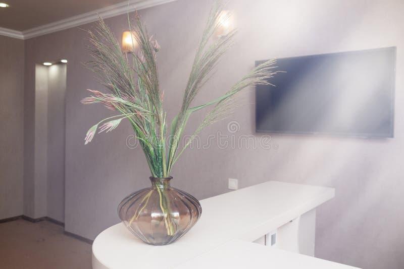 Recepción del hotel, TV interior, florero de flores, madrugada foto de archivo