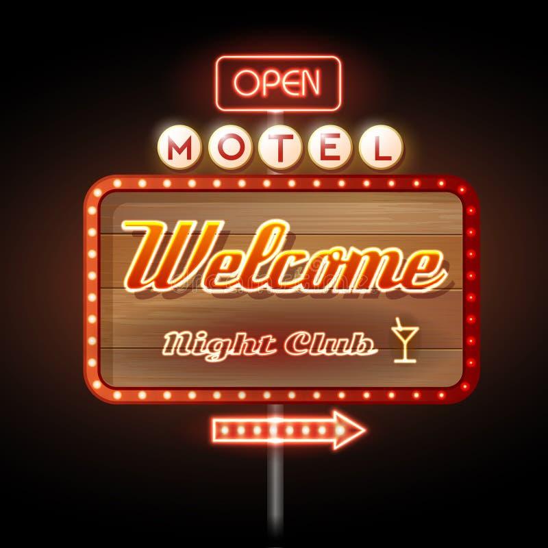 Recepción del motel de la señal de neón stock de ilustración