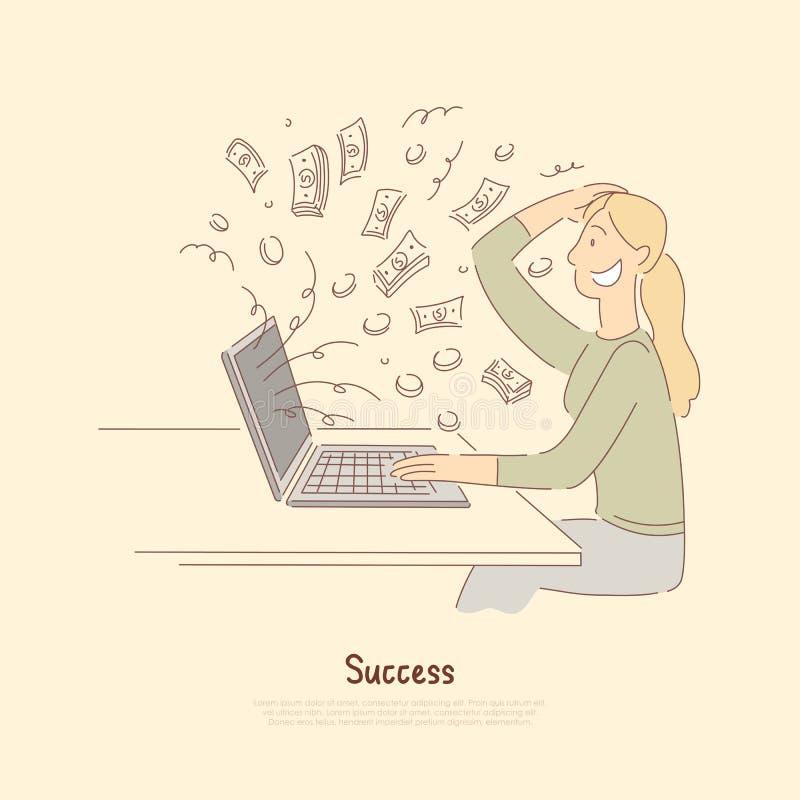 Recepción del pago grande, mujer que gana el bote digital de la lotería, trabajo bien pagado del hogar, jugando en mercado de acc stock de ilustración