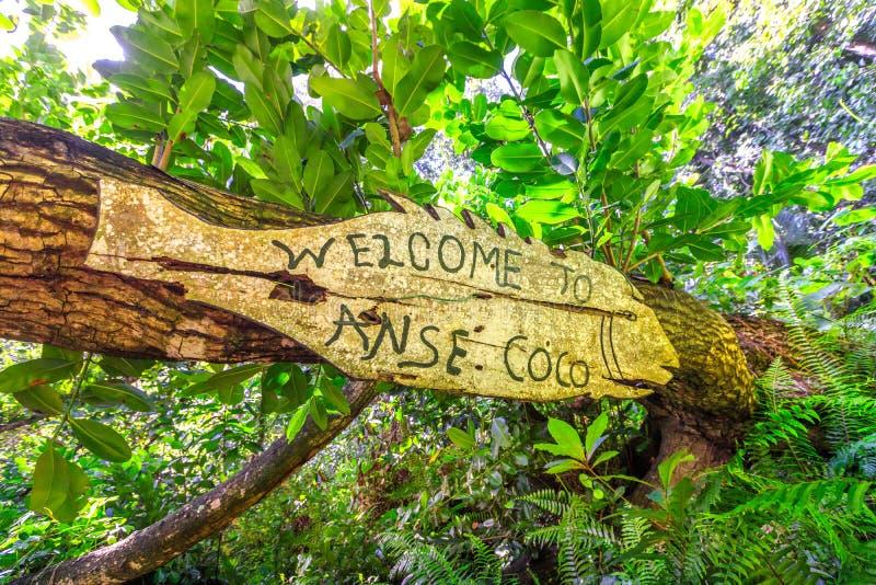 Recepción en la muestra de los Cocos de Anse foto de archivo