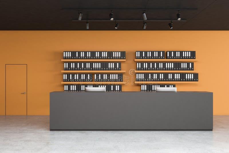 Recepción gris en oficina anaranjada ilustración del vector