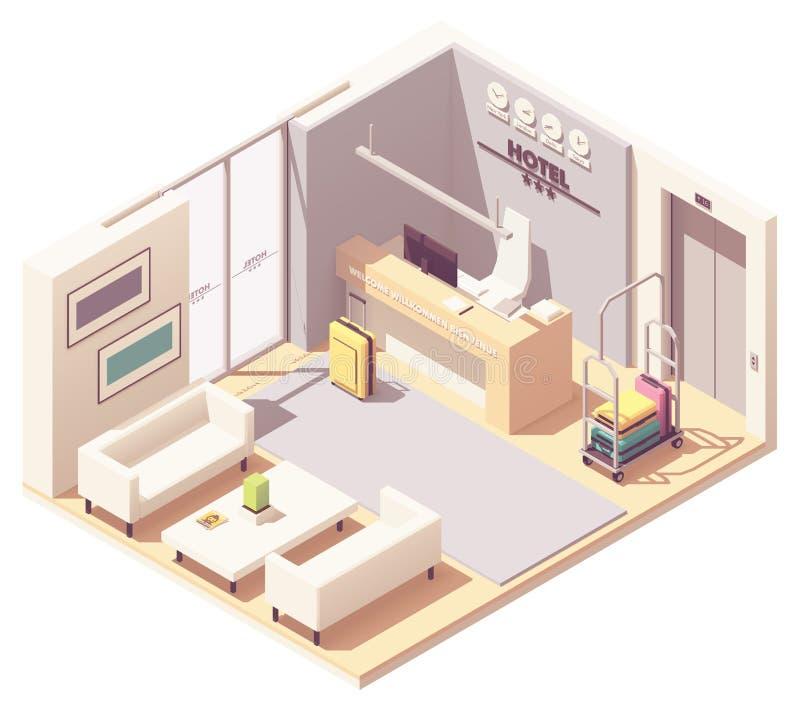 Recepción isométrica del hotel del vector stock de ilustración
