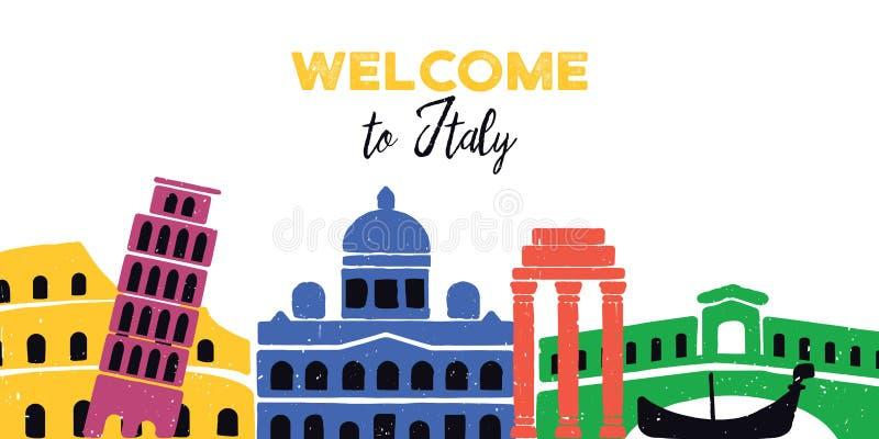 Recepción a Italia Configuración italiana Ilustración del vector en el fondo blanco ilustración del vector