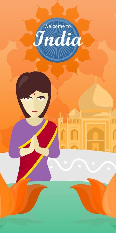 Recepción a la India Mujer india enfrente del templo stock de ilustración