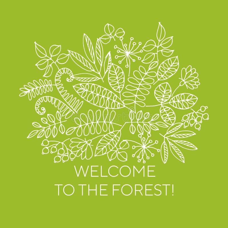 Recepción a la línea concepto del bosque de la bandera del vector del arte libre illustration