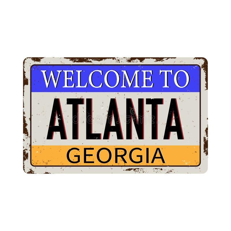 Recepción a la muestra oxidada en un fondo blanco, ejemplo del metal del vintage de Atlanta Georgia del vector libre illustration