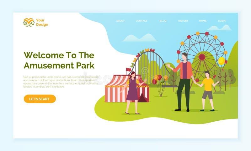 Recepción a la página web del parque de atracciones con el texto stock de ilustración