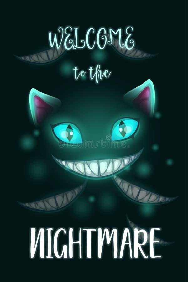 Recepción a la pesadilla Cartel asustadizo de Halloween con la cara malvada espeluznante del gato libre illustration