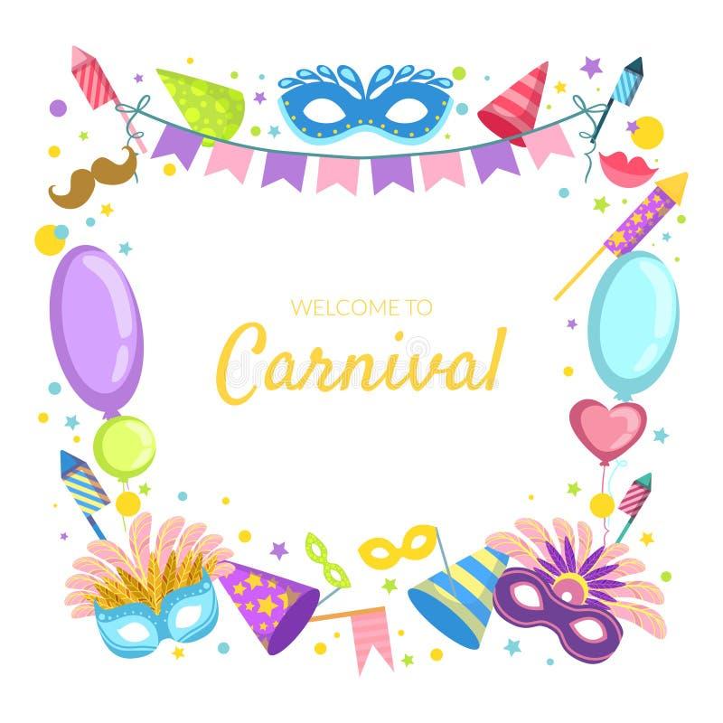 Recepción a la plantilla de la bandera del carnaval, ejemplo festivo del vector de la celebración ilustración del vector