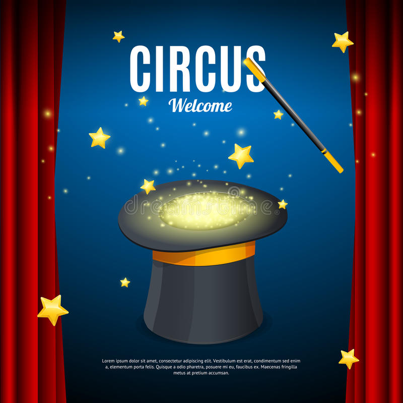 Recepción a la plantilla de la tarjeta del cartel del circo Vector stock de ilustración