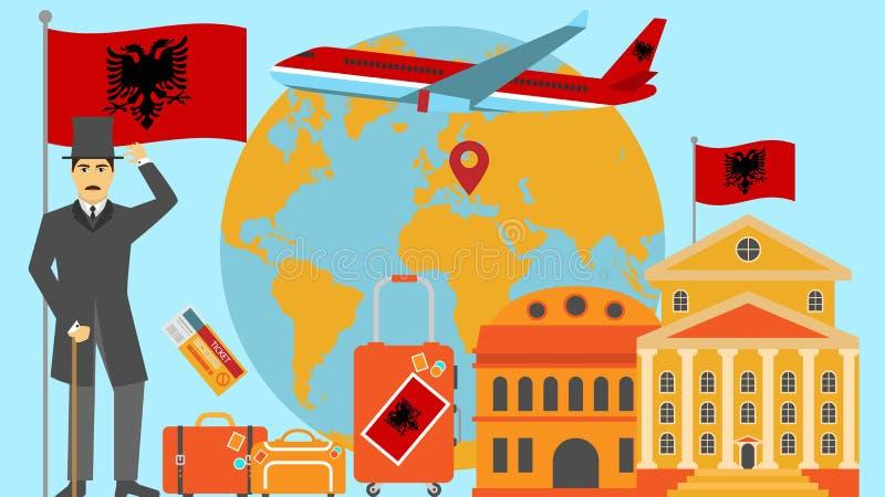 Recepción a la postal de Albania Concepto del viaje y del safari de ejemplo del vector del mapa del mundo de Europa con la bander ilustración del vector