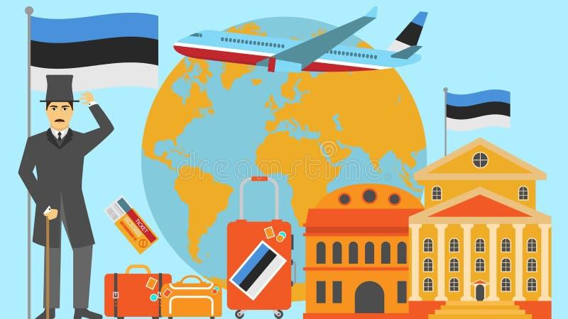 Recepción a la postal de Estonia Concepto del viaje y del safari de ejemplo del vector del mapa del mundo de Europa con la bander stock de ilustración