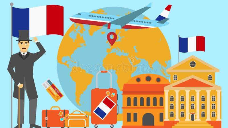 Recepción a la postal de Francia Concepto del viaje y del safari de ejemplo del vector del mapa del mundo de Europa con la bander ilustración del vector