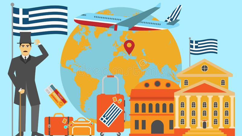 Recepción a la postal de Grecia Concepto del viaje y del safari de ejemplo del vector del mapa del mundo de Europa con la bandera stock de ilustración