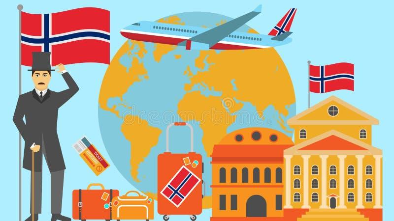 Recepción a la postal de Noruega Concepto del viaje y del safari de ejemplo del vector del mapa del mundo de Europa con la bander stock de ilustración