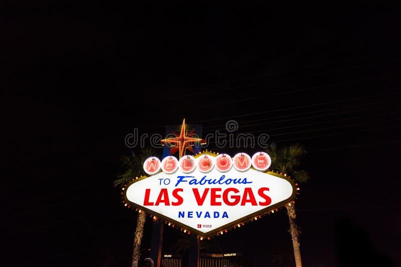 Recepción a la señal de neón fabulosa de Las Vegas Nevada fotografía de archivo