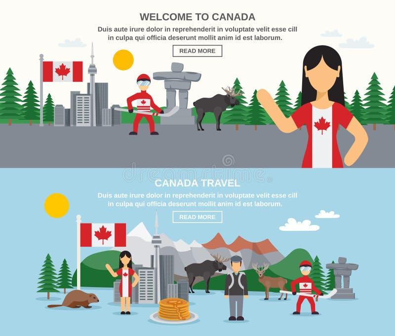 Recepción a las banderas de Canadá libre illustration