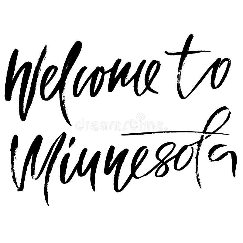 Recepción a Minnesota Moderno seque las letras del cepillo libre illustration