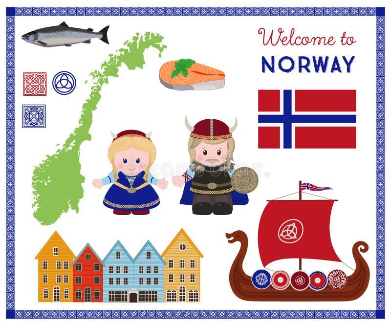 Recepción a Noruega, cet escandinavo de los símbolos stock de ilustración