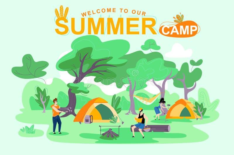 Recepción a nuestro campamento de verano, letras del cartel libre illustration