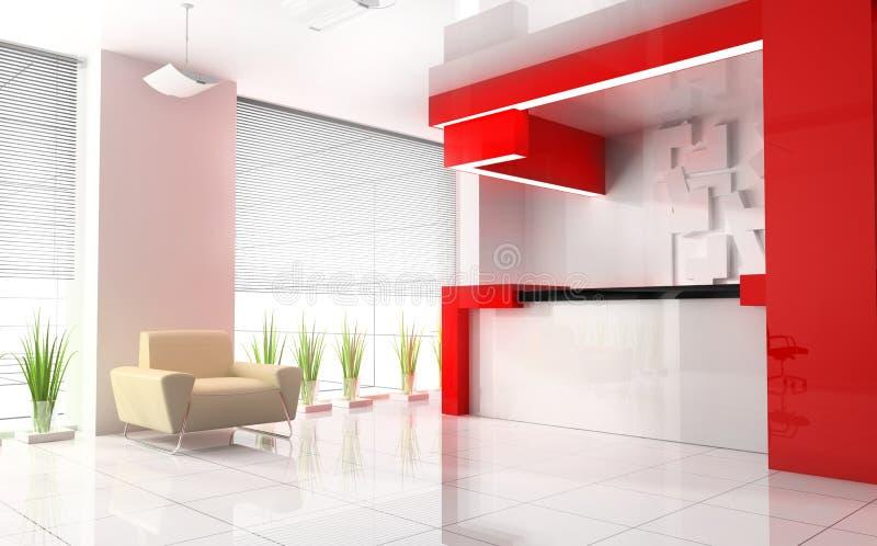 Recepción roja en hotel moderno ilustración del vector