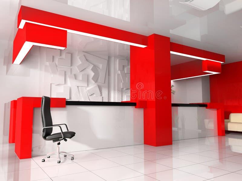 Recepción roja en hotel moderno libre illustration