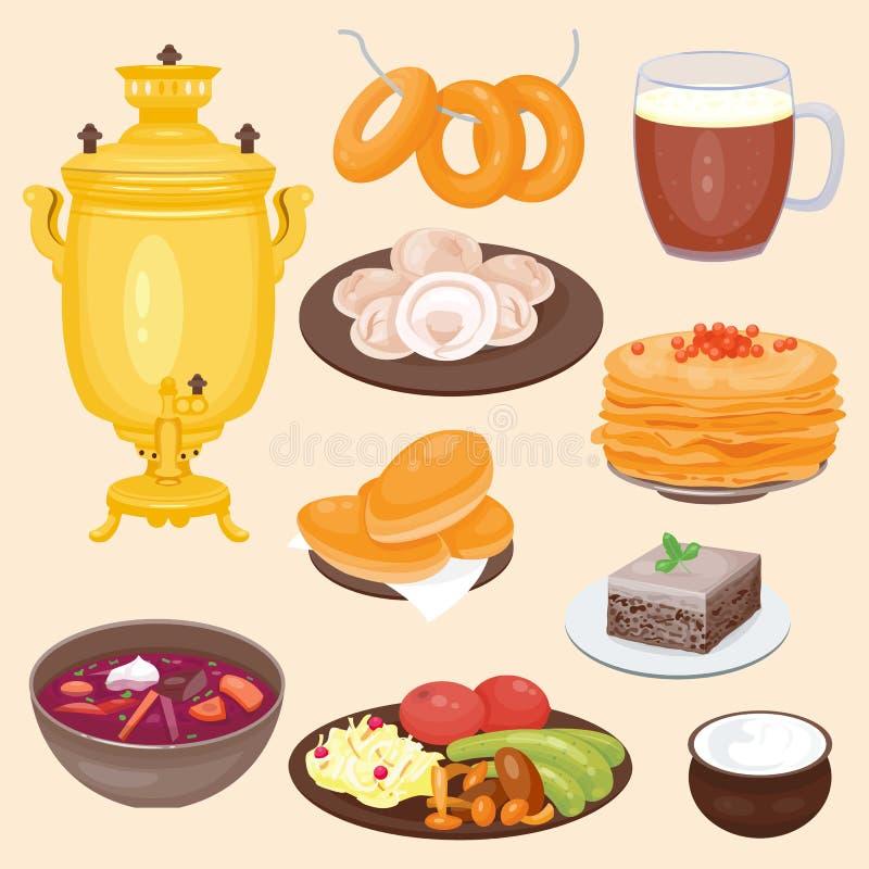 Recepción rusa tradicional de la comida del curso del plato de cultura de la cocina al ejemplo nacional gastrónomo del vector de  ilustración del vector
