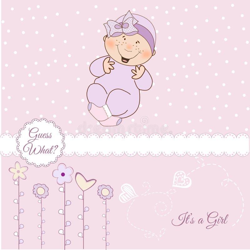 Recepción, tarjeta del aviso del bebé stock de ilustración
