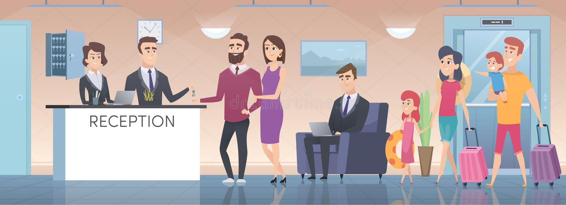 Recepci?n del hotel Interior moderno del pasillo grande del cuarto de invitados con el pasillo de la zona del salón en el ejemplo libre illustration