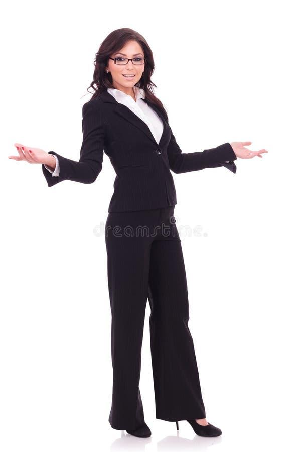 Recepciones de la mujer de negocios usted foto de archivo