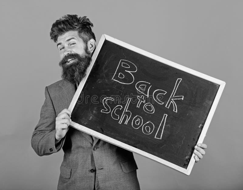 Recepciones del profesor o del director de escuela de nuevo a escuela Es usted alista estudio Prepare el a?o escolar del principi fotografía de archivo libre de regalías