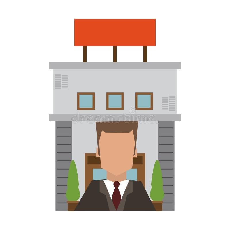 Recepcionist y edificio del hotel ilustración del vector