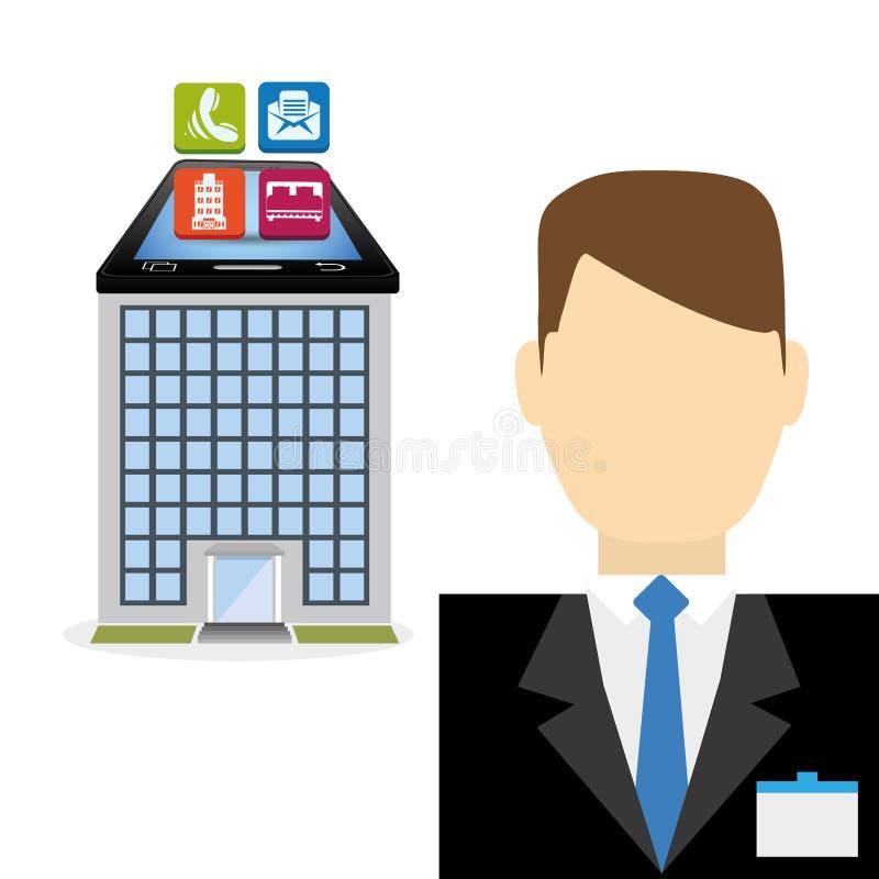 Recepcionista de Smartphone e projeto digital dos apps do hotel ilustração royalty free