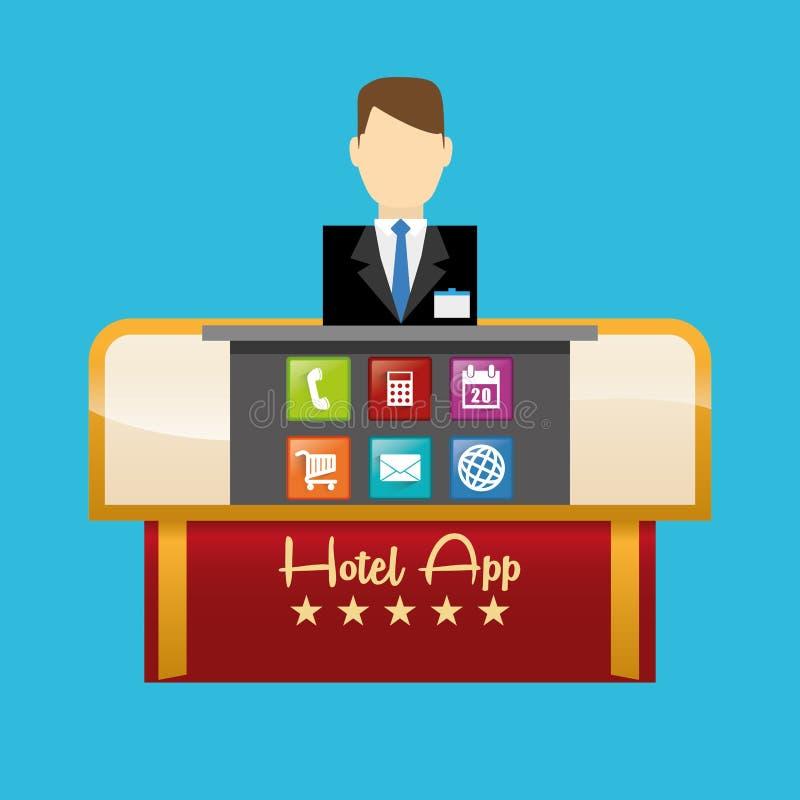 Recepcionista do hotel e do projeto digital dos apps ilustração do vetor