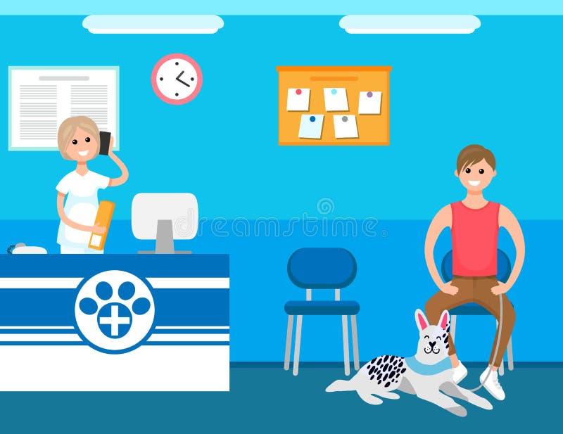 Recepcionista veterinário, homem com o cão na clínica ilustração royalty free