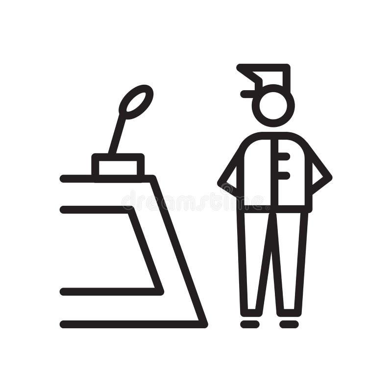 Recepcjonista ikony wektor odizolowywający na białym tle, recepcjonisty znak, liniowy symbol i uderzenie, projektujemy elementy w royalty ilustracja