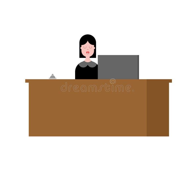 Recepcyjna dziewczyna i stojak Akceptacja goście Wektorowy illustrati ilustracji